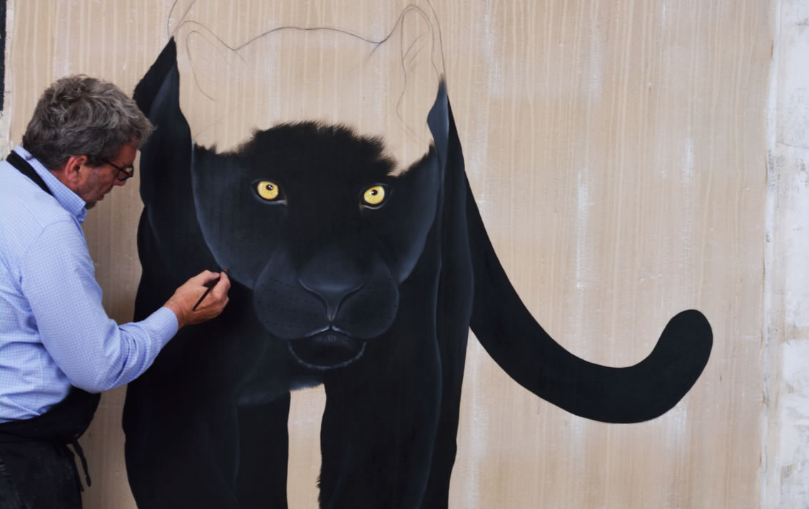 PANTHERA PARDUS MELAS studio Black-panther-panthera-pardus-melas Thierry Bisch painter animals painting art decoration hotel design interior luxury nature biodiversity conservation