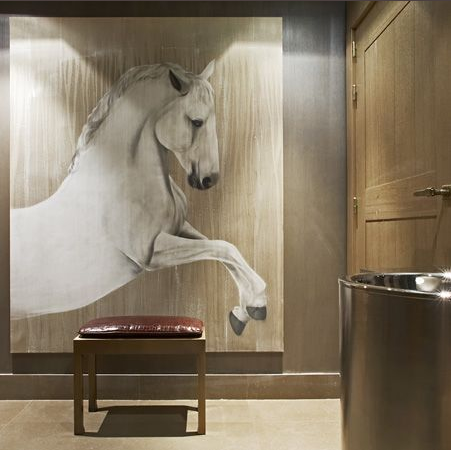 Hotel Cheval Blanc Courchevel white-horse Thierry Bisch painter animals painting art decoration hotel design interior luxury nature biodiversity conservation