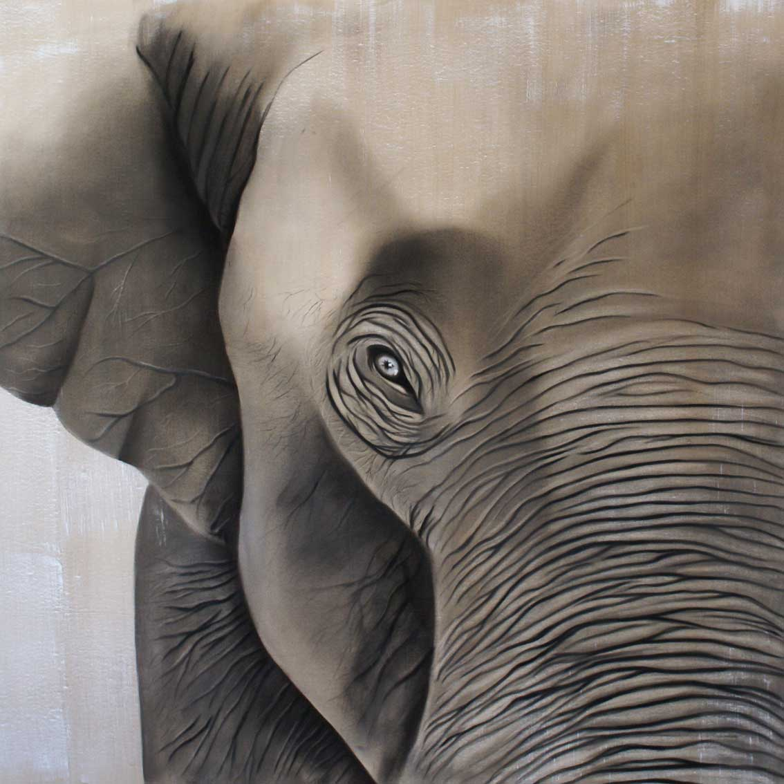 ELEPHANT divers Thierry Bisch painter animals painting art decoration hotel design interior luxury nature biodiversity conservation