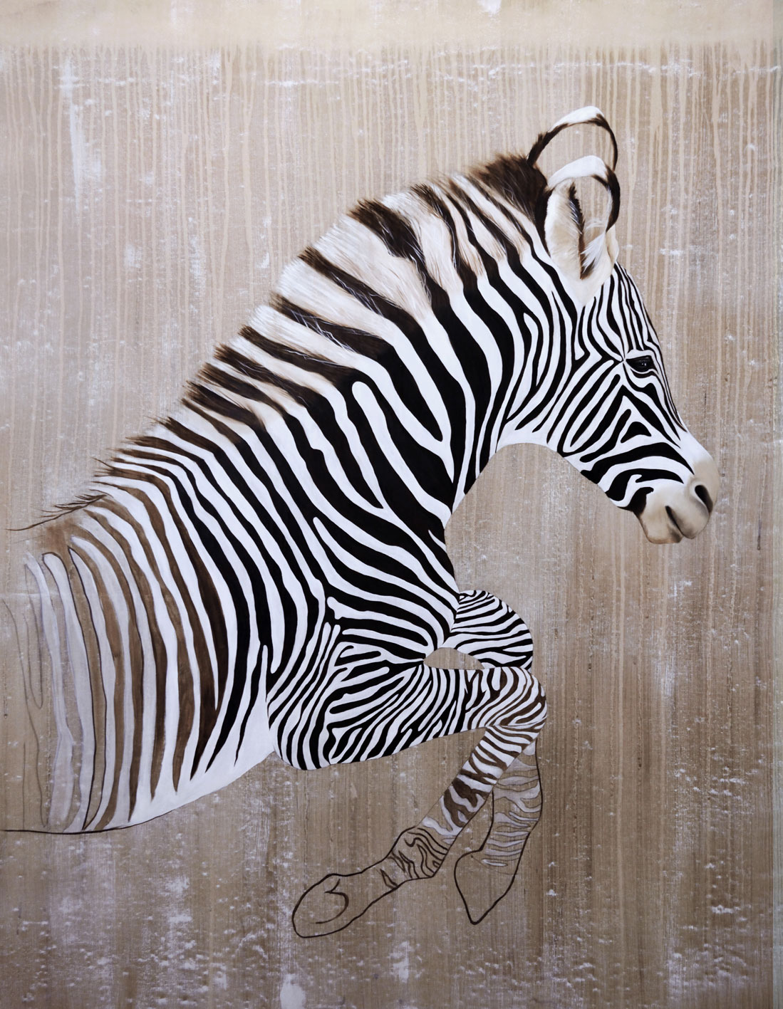 EQUUS GREVYI divers Thierry Bisch painter animals painting art decoration hotel design interior luxury nature biodiversity conservation