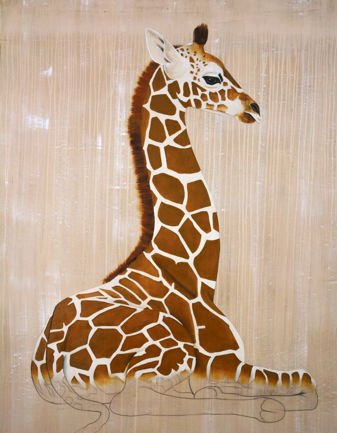GIRAFE de Rothschild divers Thierry Bisch Contemporary painter animals painting art decoration nature biodiversity conservation
