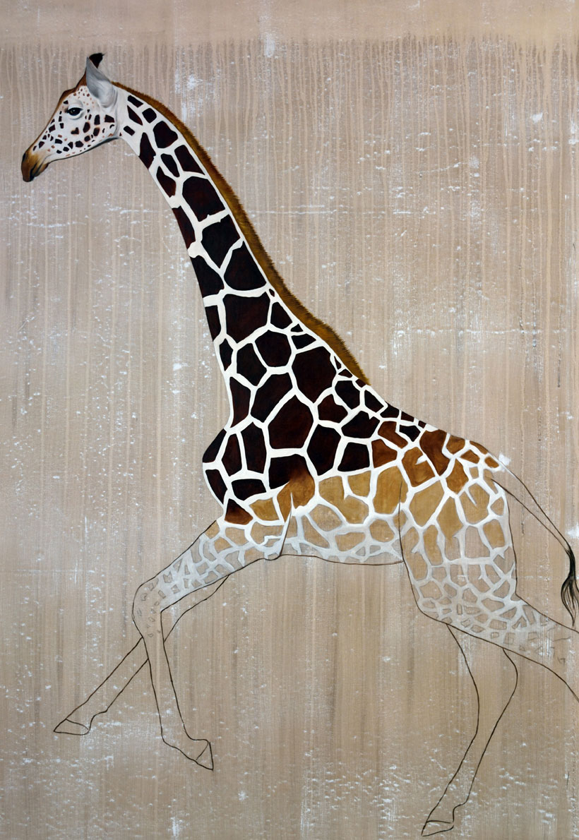 NUBIAN GIRAFFE animal-painting Thierry Bisch painter animals painting art decoration hotel design interior luxury nature biodiversity conservation