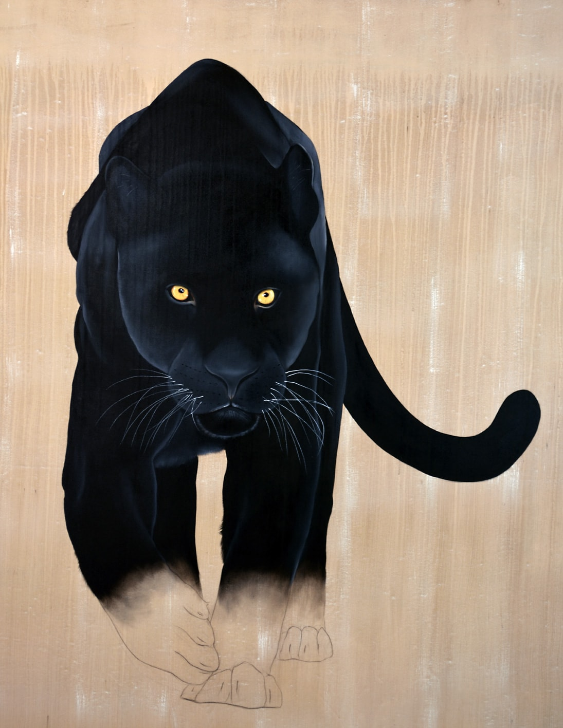 Projet Decaux black-panther-java-leopard-threatened-endangered-extinction Thierry Bisch Contemporary painter animals painting art  nature biodiversity conservation