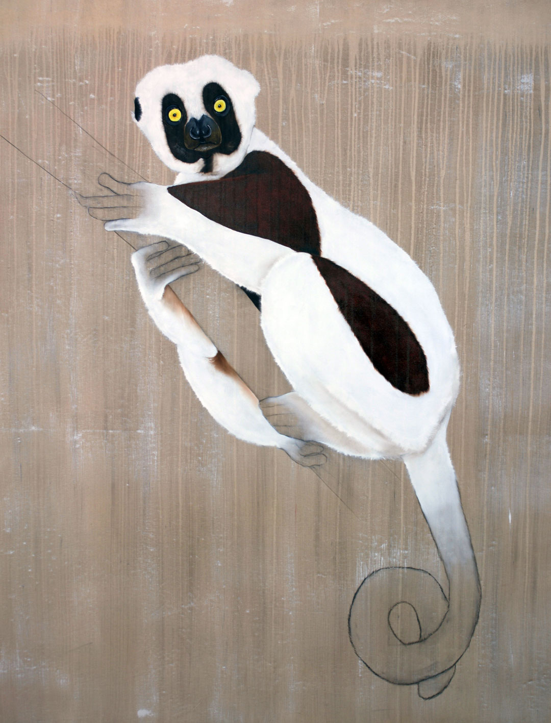 Propithecus coquereli sifaka-coquereli-lemur-threatened-endangered-extinction Thierry Bisch painter animals painting art decoration hotel design interior luxury nature biodiversity conservation