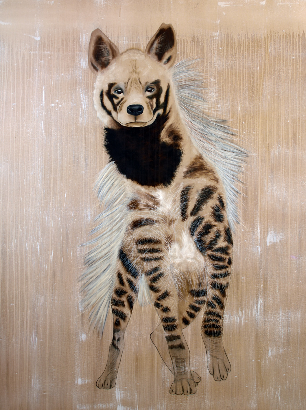 HYAENA hyaena striped-hyena-hyaena Thierry Bisch painter animals painting art decoration hotel design interior luxury nature biodiversity conservation