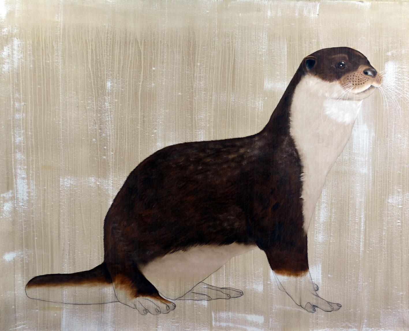Lutra Lutra otter-lutra Thierry Bisch painter animals painting art decoration hotel design interior luxury nature biodiversity conservation