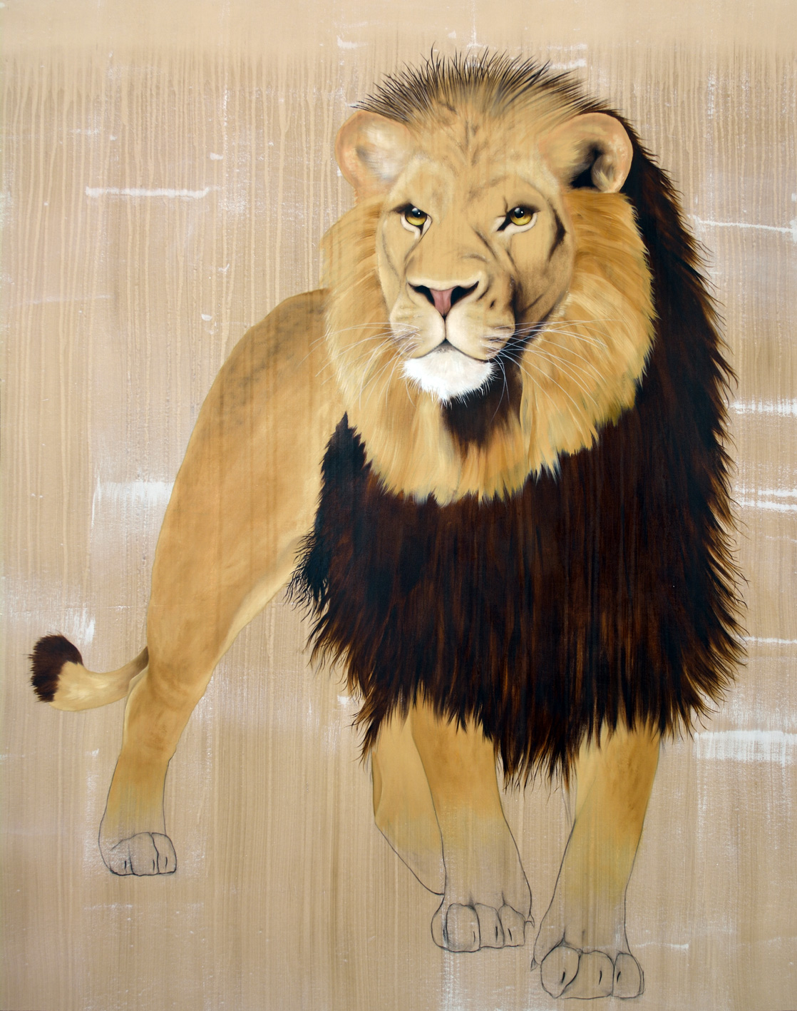 PANTHERA LEO LEO atlas-lion-panthera-leo Thierry Bisch painter animals painting art decoration hotel design interior luxury nature biodiversity conservation