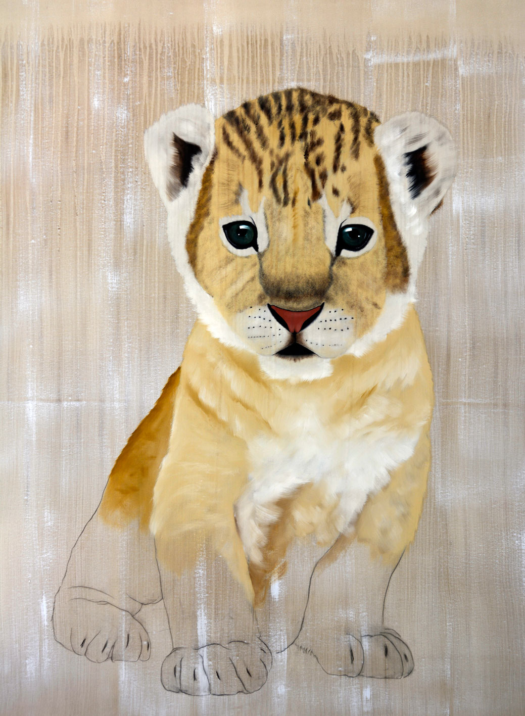 PANTHERA LEO PERSICA panthera-leo-lion-cub-delete-threatened-endangered-extinction- Animal painting by Thierry Bisch pets wildlife artist painter canvas art decoration