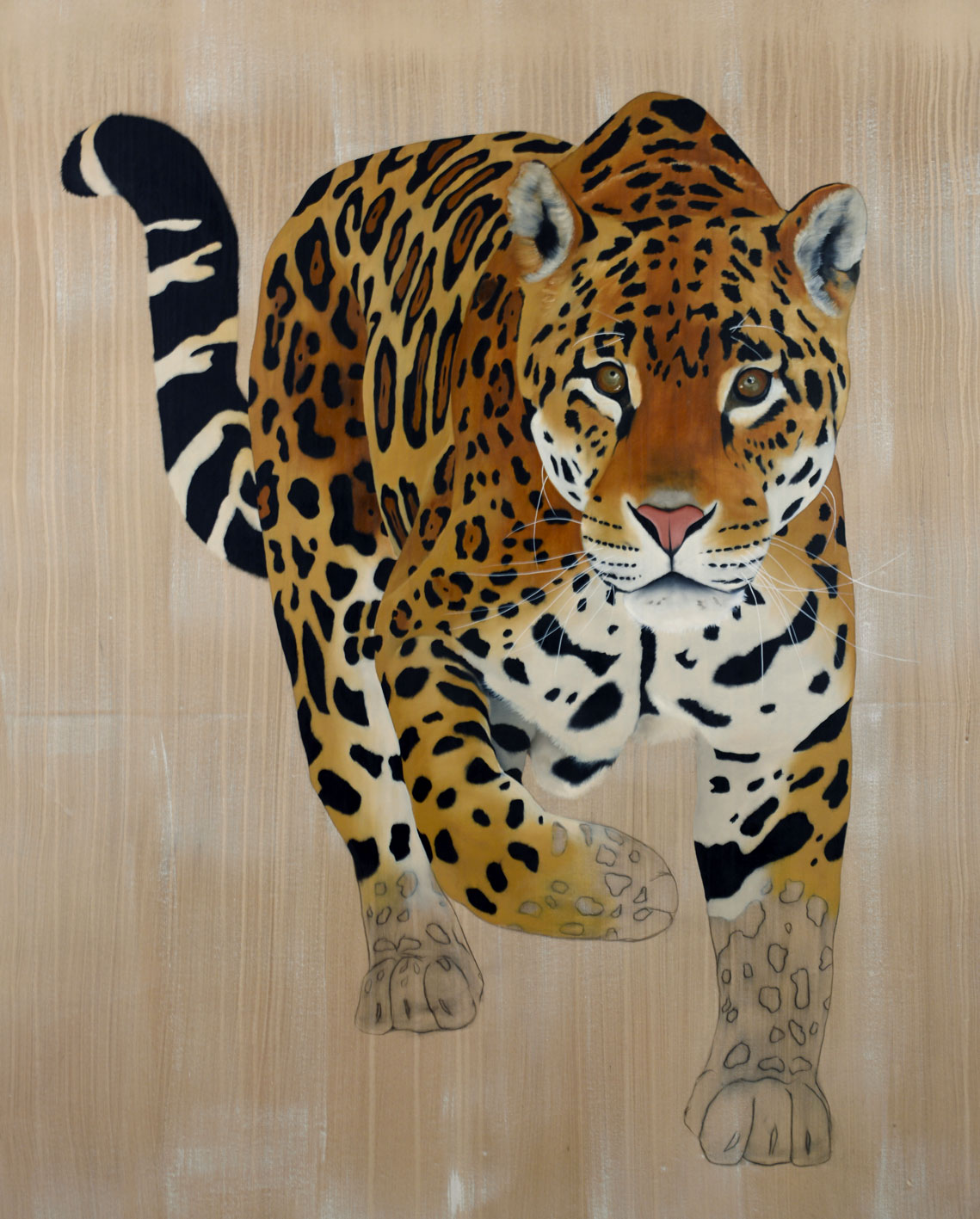 PANTHERA ONCA panthera-onca-jaguar-delete-threatened-endangered-extinction- Animal painting by Thierry Bisch pets wildlife artist painter canvas art decoration