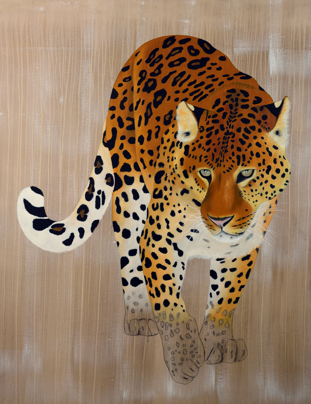 PANTHERA PARDUS ORIENTALIS panthera-pardus-orientalis-amur-leaopard-far-eastern-leopard-delete-threatened-thierry-bisch-endangered-extinction Animal painting by Thierry Bisch pets wildlife artist painter canvas art decoration