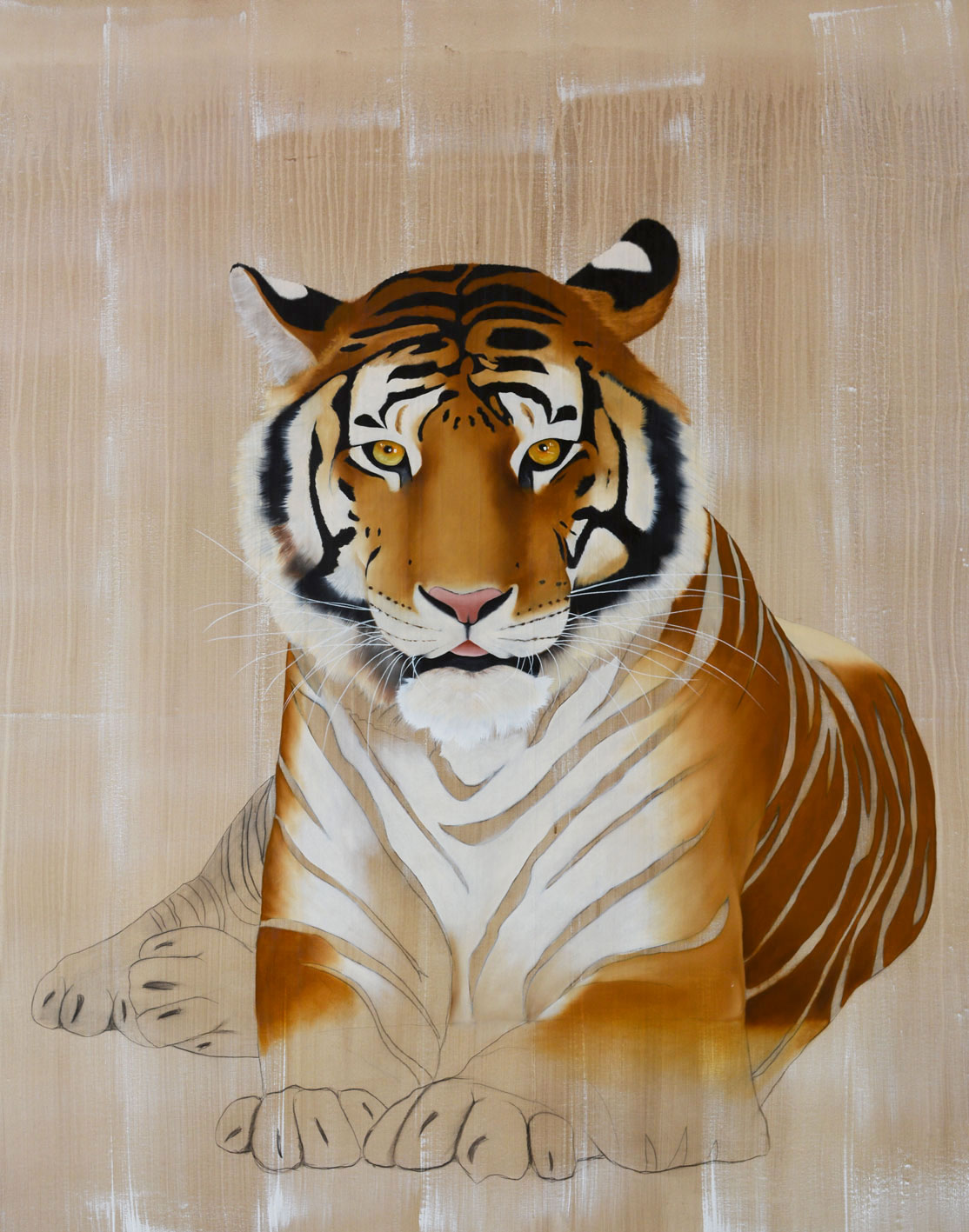 PANTHERA TIGRIS divers Thierry Bisch Contemporary painter animals painting art decoration nature biodiversity conservation