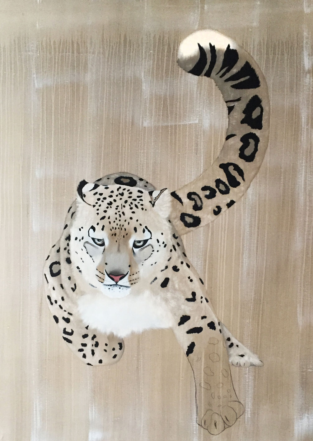 PANTHERA UNCIA panthera-uncia-snow-leaopard-ounce-delete?-threatened-endangered-extinction-thierry-bisch Animal painting by Thierry Bisch pets wildlife artist painter canvas art decoration