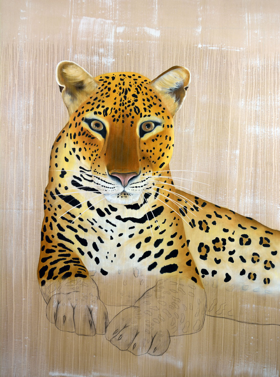 PANTHERA-PARDUS-PANTHERA african-leopard-atlas-delete-extinction-protégé-disparition Thierry Bisch painter animals painting art decoration hotel design interior luxury nature biodiversity conservation