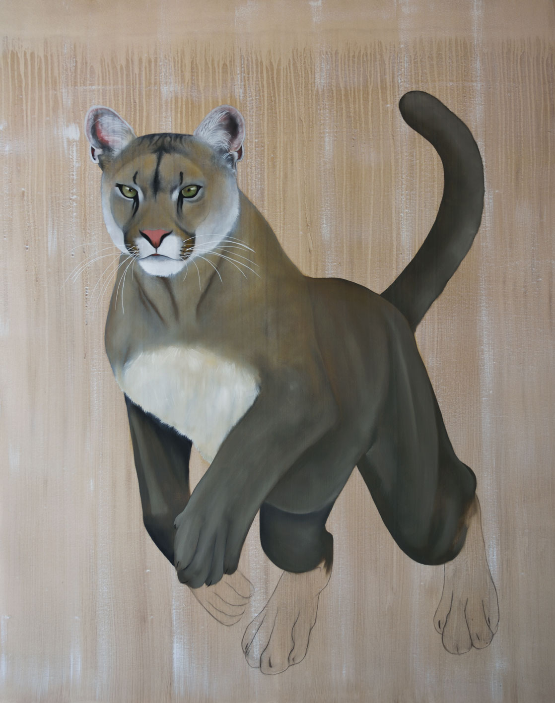 PUMA CONCOLOR CORYI COUGAR-PUMA Thierry Bisch painter animals painting art decoration hotel design interior luxury nature biodiversity conservation