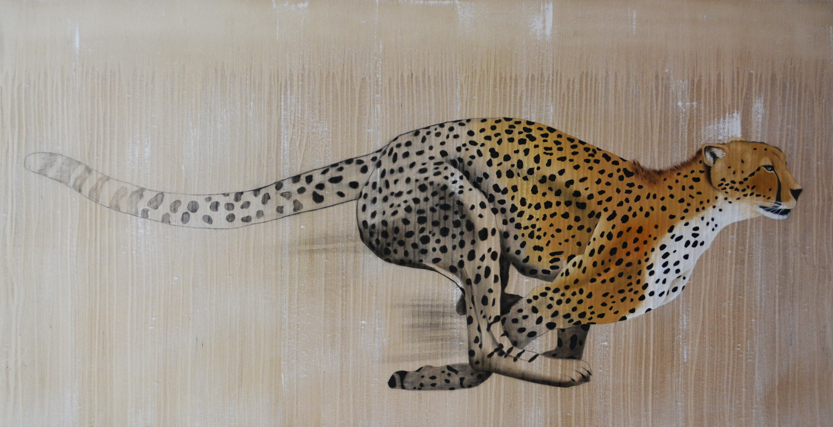 ACYNONYX-JUBATUS cheetah-acynonyx-jubatus-delete-threatened-endangered-extinction Thierry Bisch painter animals painting art decoration hotel design interior luxury nature biodiversity conservation