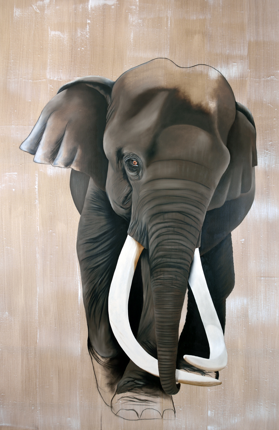 ELEPHAS-MAXIMUS ELEPHANT-INDIAN-ELEPHANT-ASIATIC-ELEPHANT-ELEPHAS-MAXIMUS Thierry Bisch painter animals painting art decoration hotel design interior luxury nature biodiversity conservation