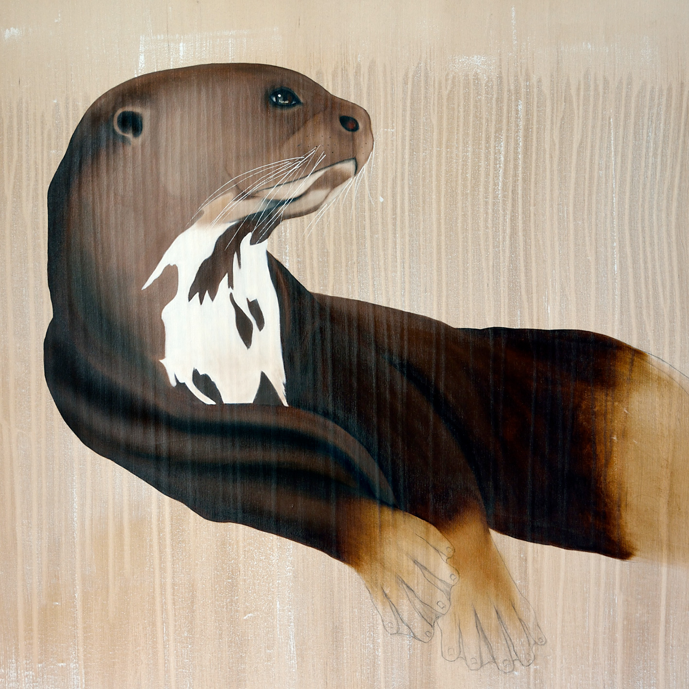 LOUTRE-GÉANTE giant-otter-pteronura-brasiliensis Thierry Bisch Contemporary painter animals painting art  nature biodiversity conservation