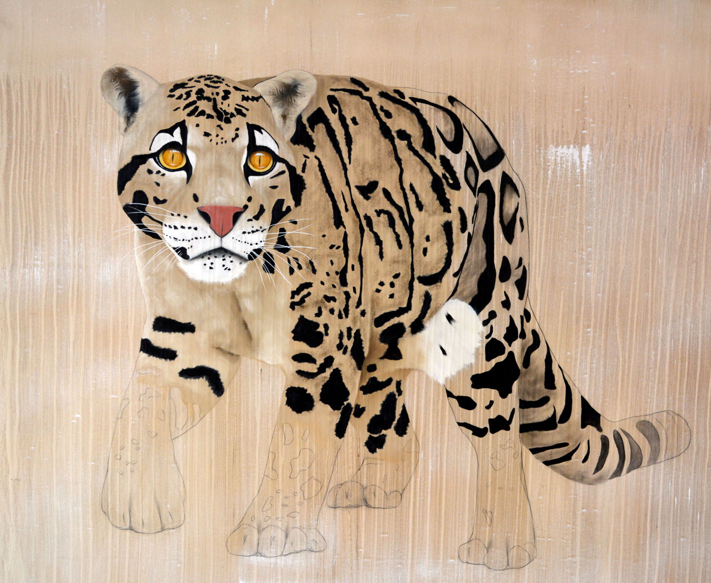 PANTHÈRE-NÉBULEUSE clouded-leopard-neofelis-nebulosa-delete-threatened-endangered-extinction Thierry Bisch painter animals painting art decoration hotel design interior luxury nature biodiversity conservation