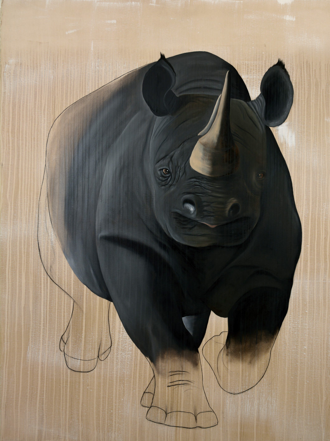 RHINOCEROS-NOIR black-rhino-diceros-bicornisdelete-threatened-endangered-extinction Thierry Bisch painter animals painting art decoration hotel design interior luxury nature biodiversity conservation
