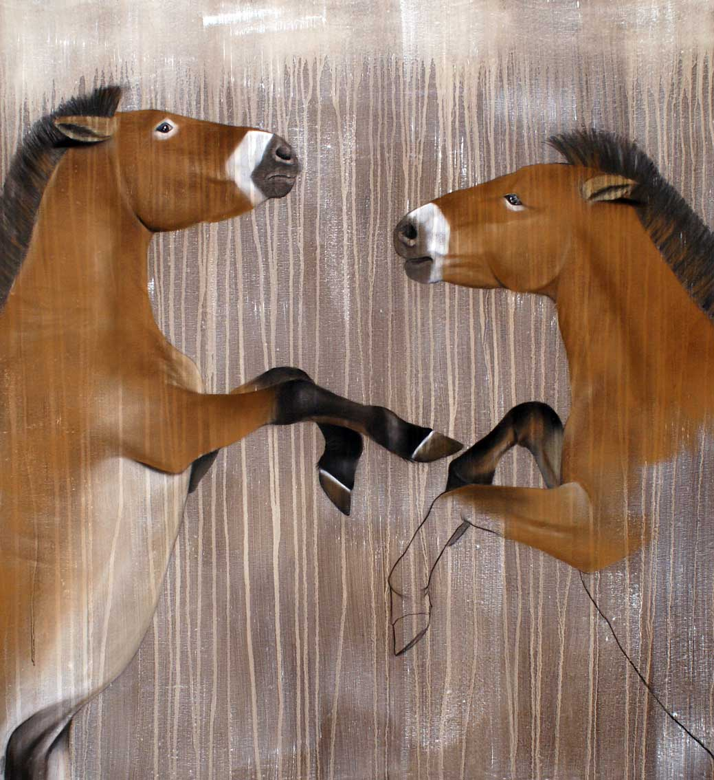 Equus ferus horse-prevalsky-threatened-endangered-extinction Thierry Bisch Contemporary painter animals painting art  nature biodiversity conservation