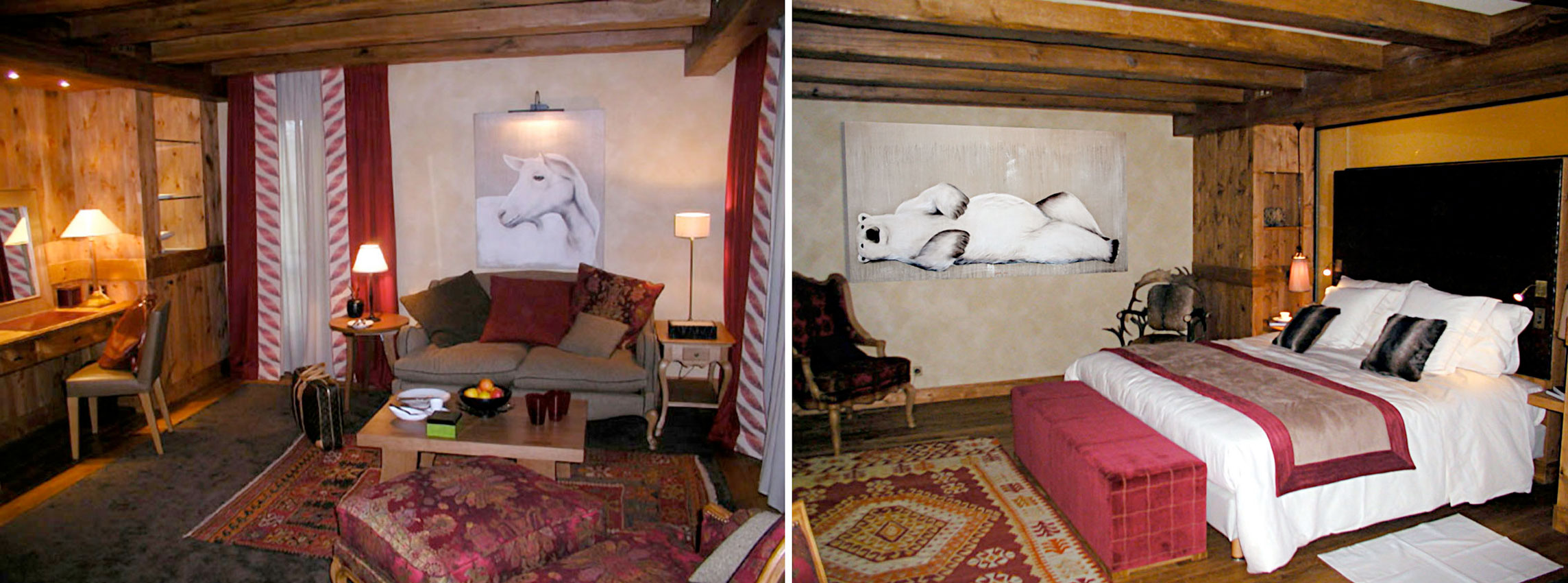 chambre cheval blanc HOTEL-CHEVAL-BLANC-COURCHEVEL-LUXURY-MOUNTAIN-RESIDENCE-FRENCH-ALPS-SKI Animal painting by Thierry Bisch pets wildlife artist painter canvas art decoration