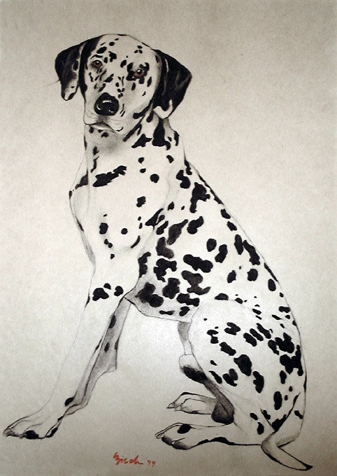 chien dalmatien chien dalmatien animal familier thierry bisch peintre animalier. Black Bedroom Furniture Sets. Home Design Ideas