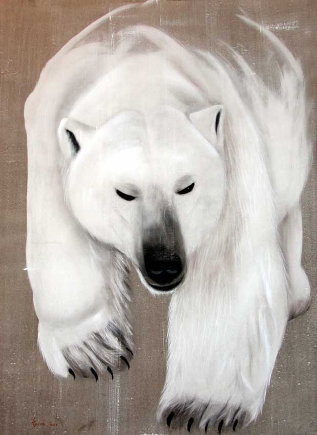 Walking bear ours-blanc Thierry Bisch artiste peintre contemporain animaux tableau art décoration biodiversité conservation