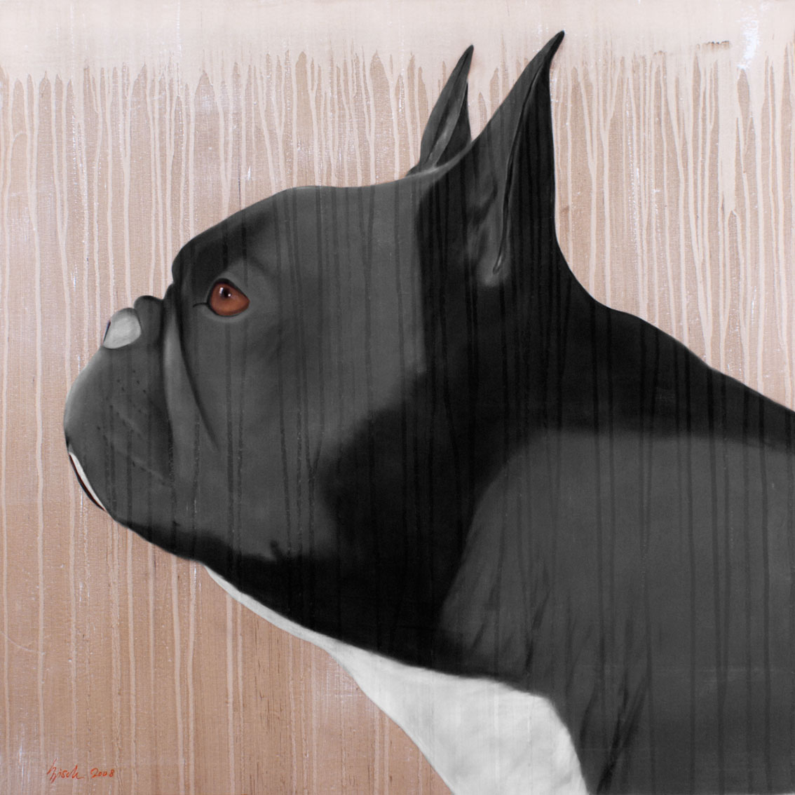 grey frenchy bouledogue bouledogue fran ais animal familier thierry bisch artiste peintre. Black Bedroom Furniture Sets. Home Design Ideas