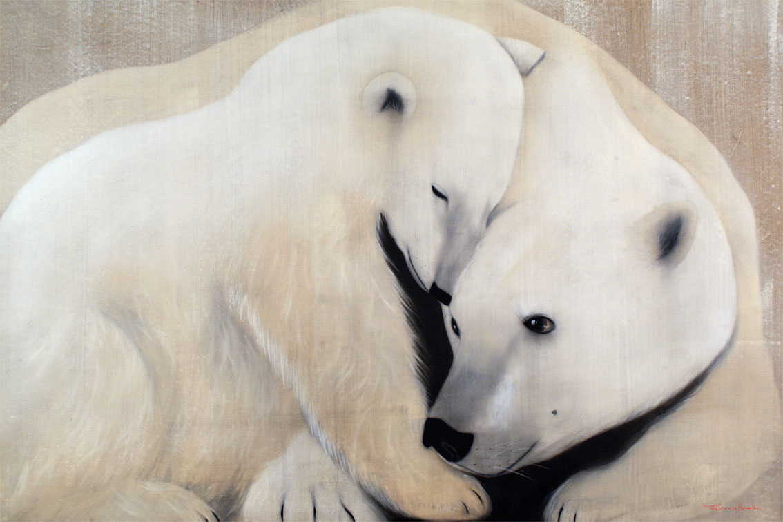 Mother And Cub 2 Ours Polaire Blanc Ourson Mere Ourse Thierry Bisch