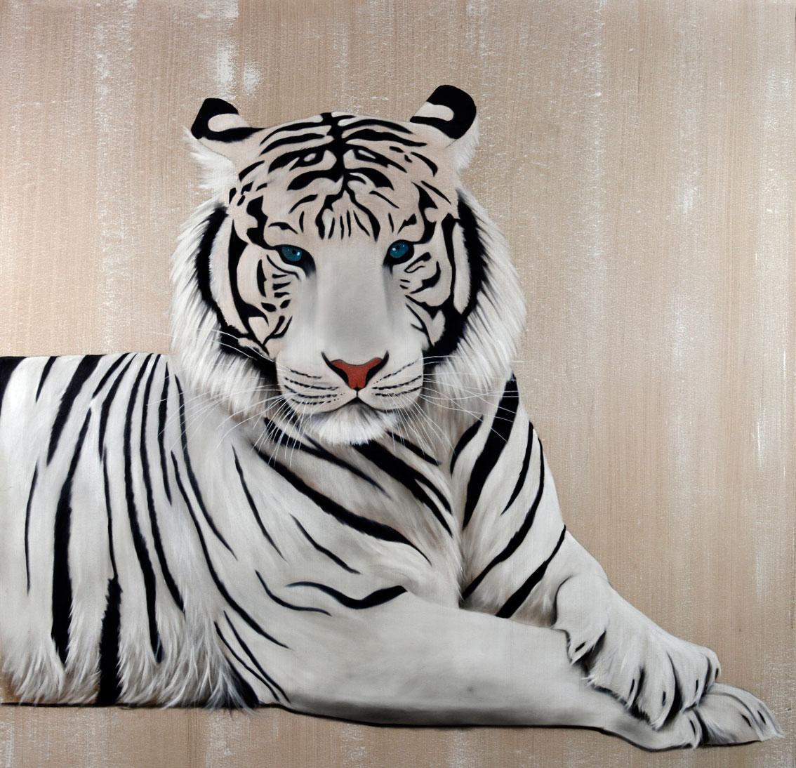 White tiger tigre blanc thierry bisch artiste peintre - Image dessin tigre ...