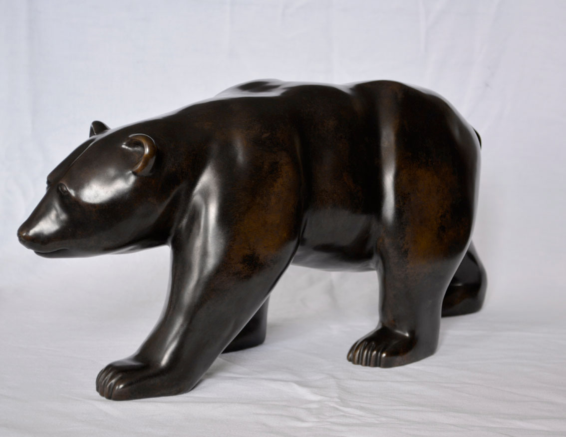 THE-WALKING-BEAR bronze-cire-perdue-ours-marchant-en Thierry Bisch artiste peintre contemporain animaux tableau art  nature biodiversité conservation