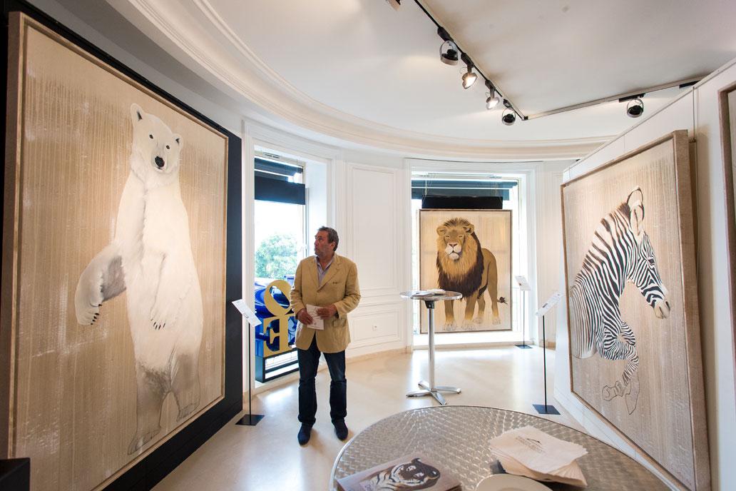 VERNISSAGE MONACO thierry-bisch Thierry Bisch artiste peintre animaux tableau art décoration hôtel design intérieur luxe nature biodiversité conservation