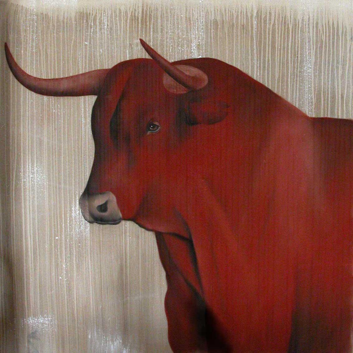 red bull 02 taureau rouge thierry bisch artiste peintre animaux esp ces menac es. Black Bedroom Furniture Sets. Home Design Ideas