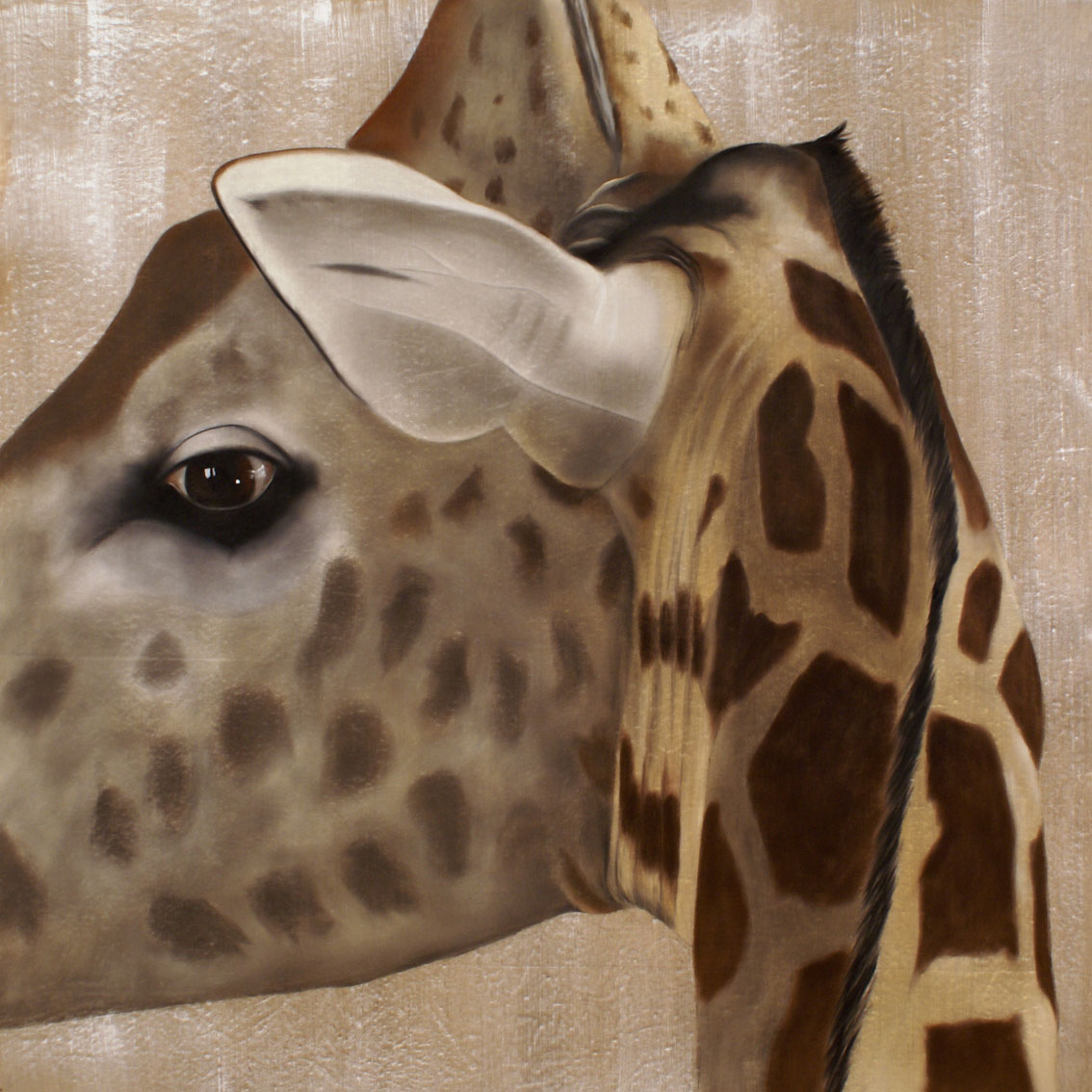 giraffe close up girafe thierry bisch peintre animalier. Black Bedroom Furniture Sets. Home Design Ideas