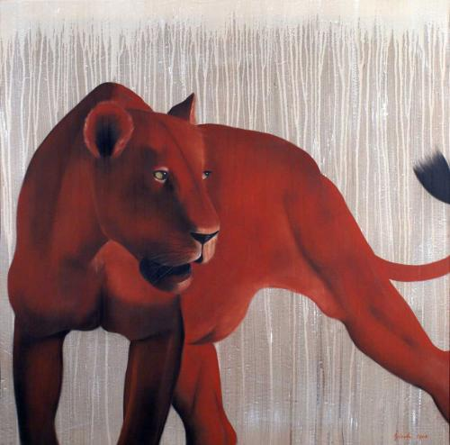 Red Lioness lion Thierry Bisch painter animals painting art decoration hotel design interior luxury nature biodiversity conservation
