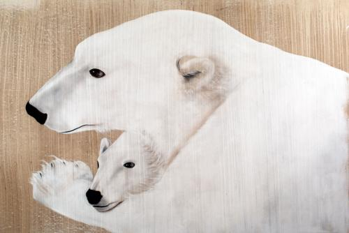polar bear female mother and cub Thierry Bisch Contemporary painter animals painting art decoration nature biodiversity conservation