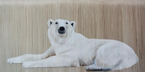 BEAR POLAR BEAR FEMALE BEAR Thierry Bisch painter animals painting art decoration hotel design interior luxury nature biodiversity conservation