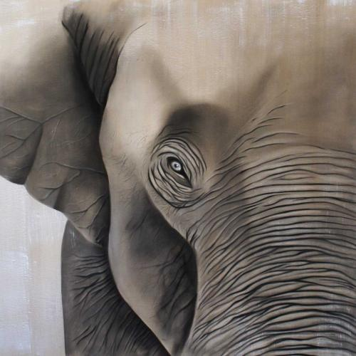 Elephant Thierry Bisch painter animals painting art decoration hotel design interior luxury nature biodiversity conservation