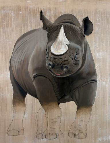 rhinoceros black rhino diceros bicornis threatened endangered extinction Thierry Bisch Contemporary painter animals painting art decoration nature biodiversity conservation