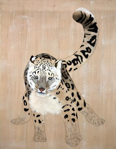 snow leopard panthera uncia ounce threatened endangered extinction Thierry Bisch Contemporary painter animals painting art decoration nature biodiversity conservation