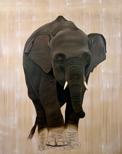 elephas maximus baby elephant asian delete threatened endangered extinction Thierry Bisch painter animals painting art decoration hotel design interior luxury nature biodiversity conservation