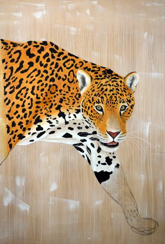 jaguar panthera onca delete threatened endangered extinction Thierry Bisch Contemporary painter animals painting art decoration nature biodiversity conservation