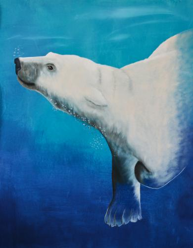 polar bear white swiming ursus maritimus Thierry Bisch Contemporary painter animals painting art decoration nature biodiversity conservation