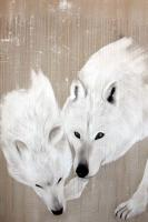 WHITE WOLVES   Animal painting, wildlife painter.Dogs, bears, elephants, bulls on canvas for art and decoration by Thierry Bisch