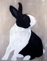 LAPIN PIE rabbit-domestic-black-and-white Thierry Bisch Contemporary painter animals painting art  nature biodiversity conservation