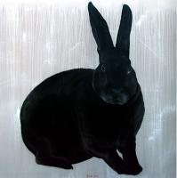Lapin-noir rabbit Thierry Bisch painter animals painting art decoration hotel design interior luxury nature biodiversity conservation