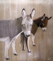 Fiona & Romeo donkey Thierry Bisch Contemporary painter animals painting art  nature biodiversity conservation