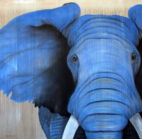Blue-Elephant blue-elephant Thierry Bisch Contemporary painter animals painting art  nature biodiversity conservation