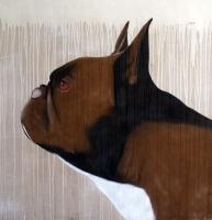 Bouledogue-francais-01 bulldog-french-bulldog-frenchie-pet Animal painting by Thierry Bisch pets wildlife artist painter canvas art decoration