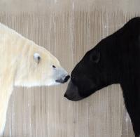 THE MEETING bear Thierry Bisch painter animals painting art decoration hotel design interior luxury nature biodiversity conservation